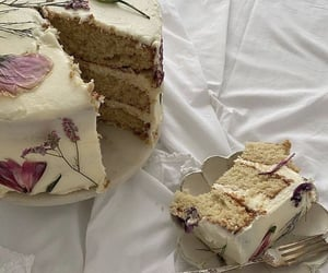 cake, dessert, and flowers image