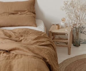 bedroom, beige, and brown image