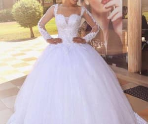 lace wedding dress, robe de mariée, and white wedding dresses image