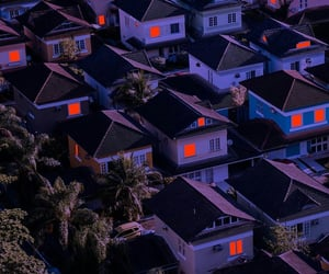 Houses, neighborhood, and light image
