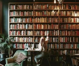 book, girl, and bookshelf image