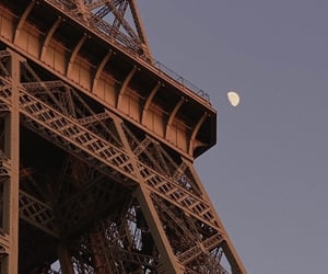 eiffel tower, moon, and paris image