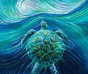 painting, sea, and sea turtle image
