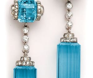 art deco, blue, and earrings image