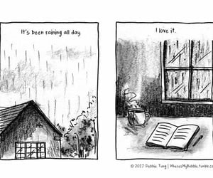 books, rain, and day image