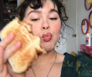 food, girl, and sandwich image