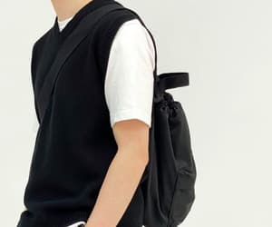 backpack, korean student, and student outfit image