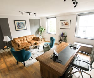 home office, interior design, and modern furniture image