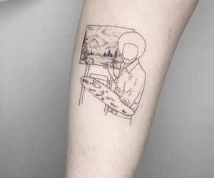 bob ross, happy accidents, and tattoo image