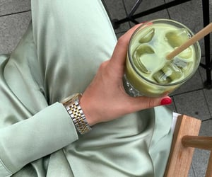drink, green, and fashion image