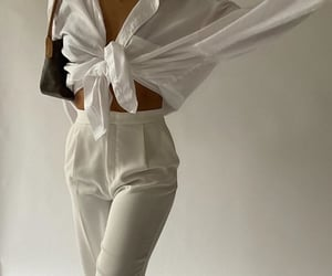 louis vuitton bag, white blouse, and white outfit image