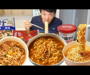 challenge, eating, and chinese food image