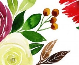 floral, watercolor, and floral print image