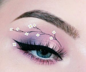 beauty, flowers, and makeup image