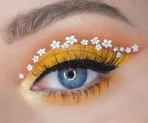 blue eyes, flowers, and yellow image