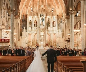altar, bride, and cathedral image