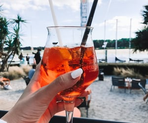 beach, cocktail, and nails image