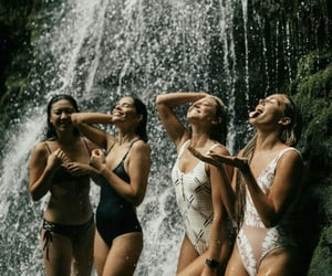 girls, travel, and waterfall image