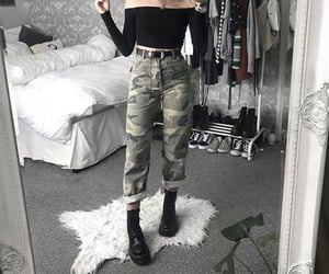 alternative, camouflage, and off shoulder image