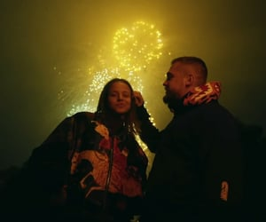 couple, fireworks, and neon image