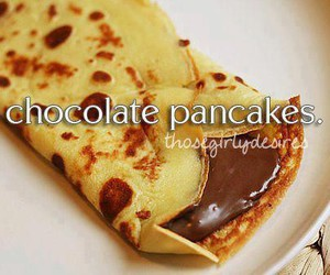 pancakes, chocolate, and sweet image