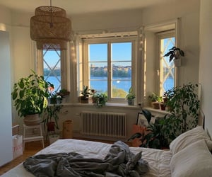 interior, plants, and bedroom image