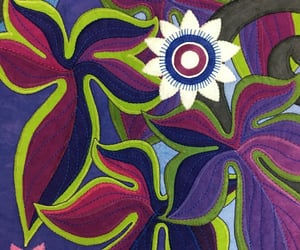 fabric art, flowerpower, and groovy image