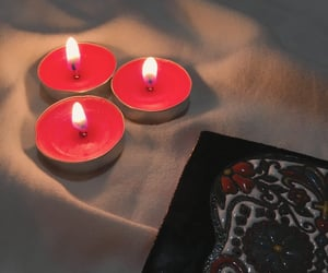 candle, flame, and red image