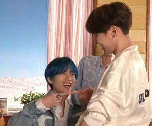 blue hair, hoseok, and taehyung image