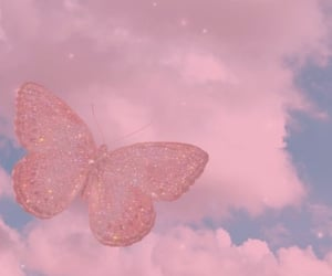 butterfly, clouds, and sky image