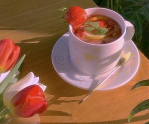 breakfast, lemon, and white flowers image