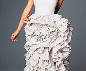 gown, H&M, and pleated dress image