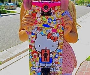 hello kitty, skate, and pink image