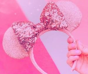 girl, mickey ears, and pink image