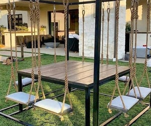 decor, outdoor, and swing image