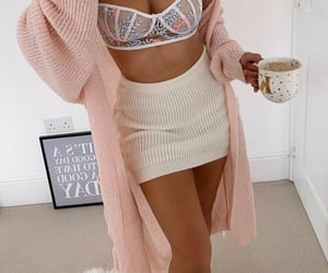 bra, coffee, and fashion image