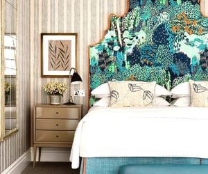 bedroom, blue, and decor image