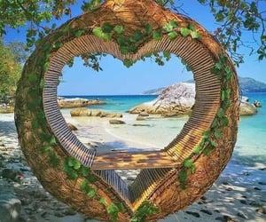 coeur, mer, and plage image