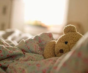bed, teddybear, and cute image