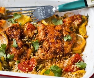 bulgur wheat, harissa, and baked fish image