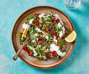 salad, harissa, and roast vegetables image