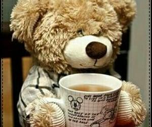 morning, teddybear, and coffee image
