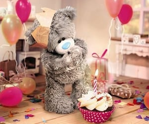 balloons, birthday cake, and cute image