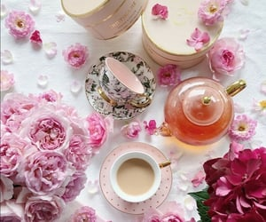 flowers, tea time, and cup of tea image