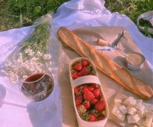 picnic, drink, and strawberry image