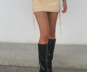 knee high boots, black leather boots, and cute summer outfit image