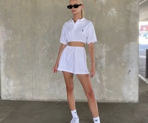 white outfit, white crop top, and cute summer outfit image
