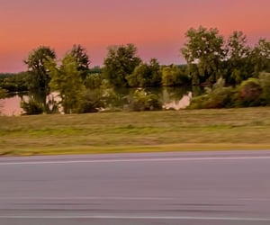 roads, sunset, and pink sky image