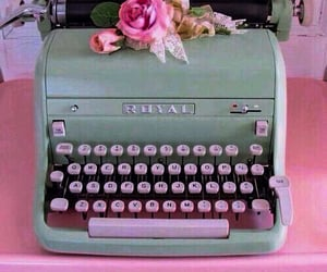 green, aesthetic theme, and pink image