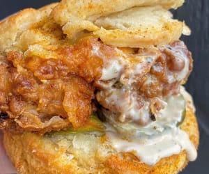 fried chicken, southern food, and biscuit sandwich image